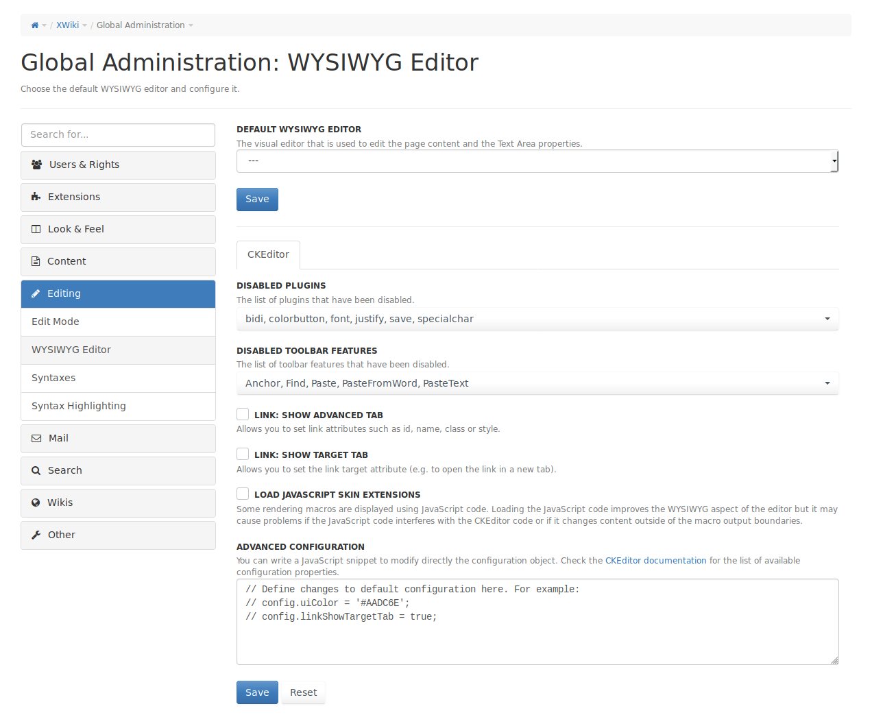ckeditor-administration